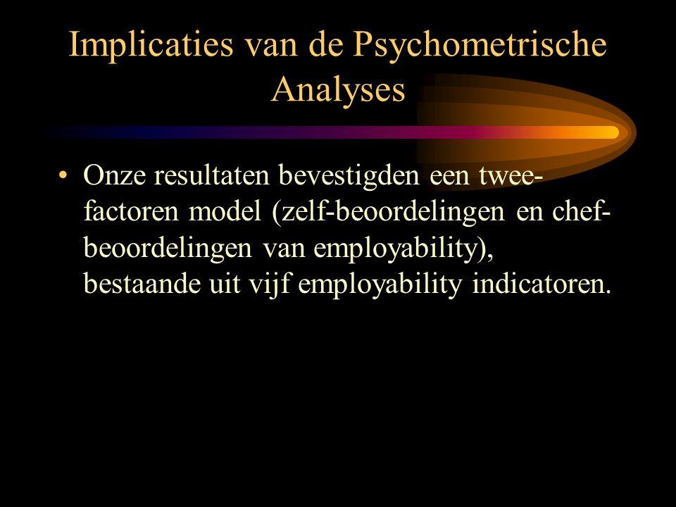 Implicaties van de Psychometrische Analyses •Onze resultaten bevestigden een twee- factoren model (zelf-beoordelingen en chef- beoordelingen van emplo