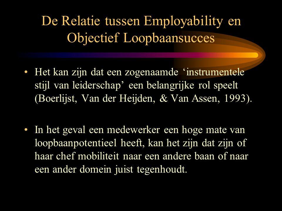 De Relatie tussen Employability en Objectief Loopbaansucces •Het kan zijn dat een zogenaamde 'instrumentele stijl van leiderschap' een belangrijke rol
