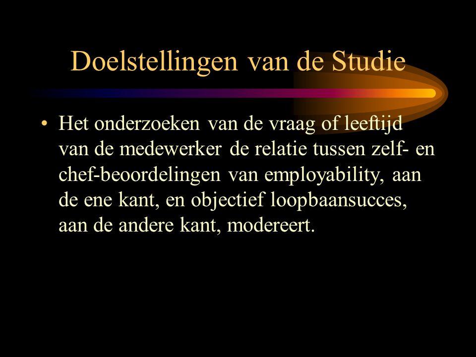 Doelstellingen van de Studie •Het onderzoeken van de vraag of leeftijd van de medewerker de relatie tussen zelf- en chef-beoordelingen van employabili