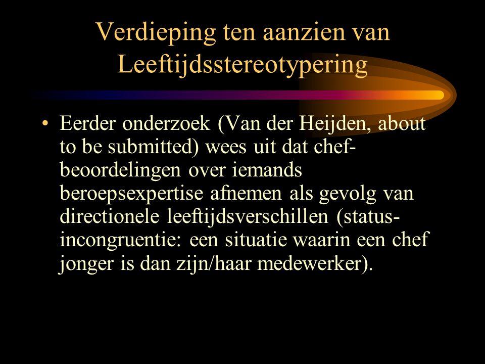 Verdieping ten aanzien van Leeftijdsstereotypering •Eerder onderzoek (Van der Heijden, about to be submitted) wees uit dat chef- beoordelingen over ie