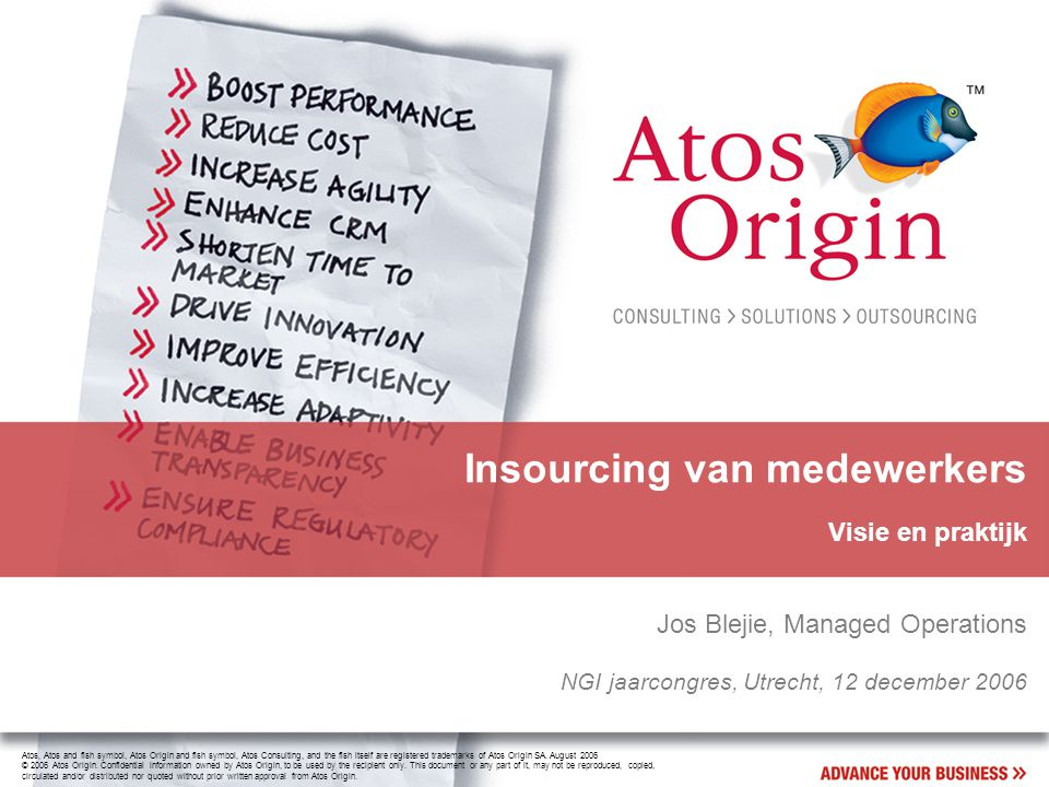 2 NGI Jaarcongres 2006 - Jos Blejie Wat betekent outsourcing voor medewerkers?