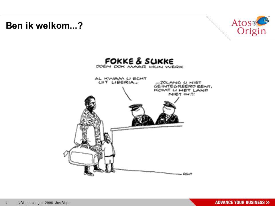 15 NGI Jaarcongres 2006 - Jos Blejie Veranderingen voor medewerkers »Collega's worden klant, en gaan zich als klant gedragen »Nieuwe rollen, gedragsverandering, nieuwe regels....