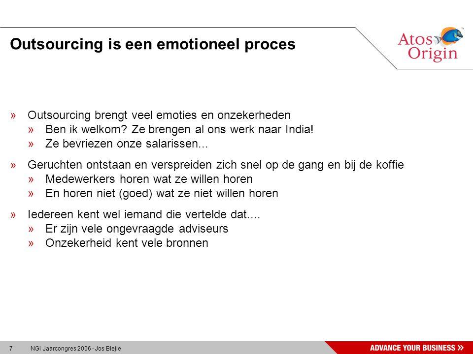 7 NGI Jaarcongres 2006 - Jos Blejie Outsourcing is een emotioneel proces »Outsourcing brengt veel emoties en onzekerheden »Ben ik welkom.