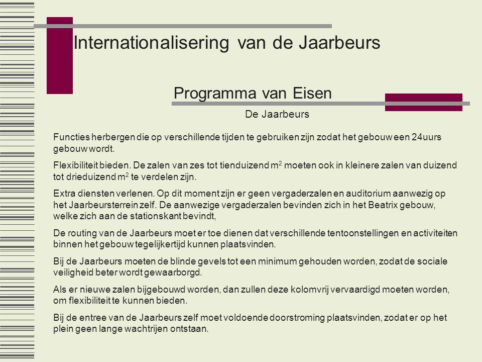 Internationalisering van de Jaarbeurs Programma van Eisen De Jaarbeurs Functies herbergen die op verschillende tijden te gebruiken zijn zodat het gebouw een 24uurs gebouw wordt.