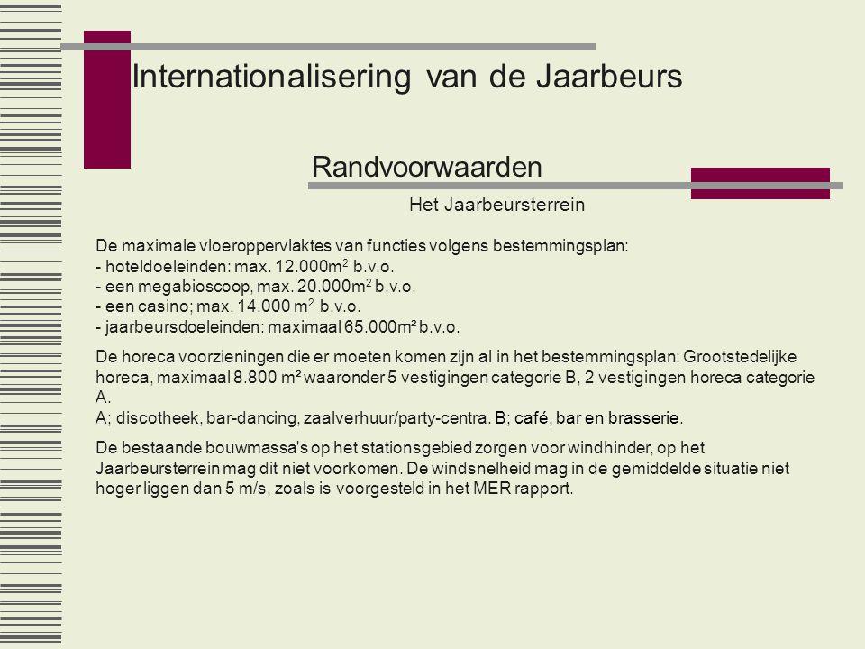 Internationalisering van de Jaarbeurs Randvoorwaarden Het Jaarbeursterrein De maximale vloeroppervlaktes van functies volgens bestemmingsplan: - hoteldoeleinden: max.
