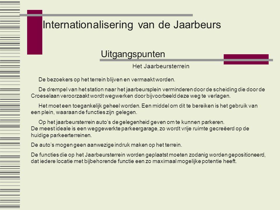 Internationalisering van de Jaarbeurs Uitgangspunten De bezoekers op het terrein blijven en vermaakt worden. De drempel van het station naar het jaarb