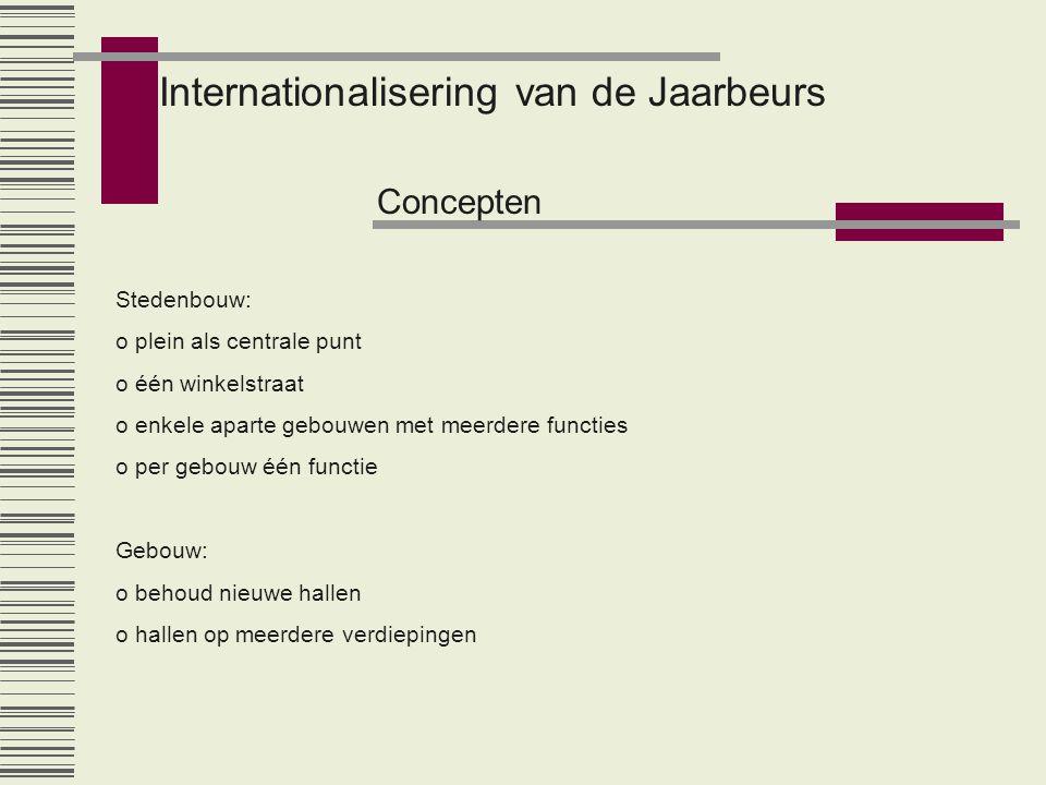 Internationalisering van de Jaarbeurs Concepten Stedenbouw: o plein als centrale punt o één winkelstraat o enkele aparte gebouwen met meerdere functie