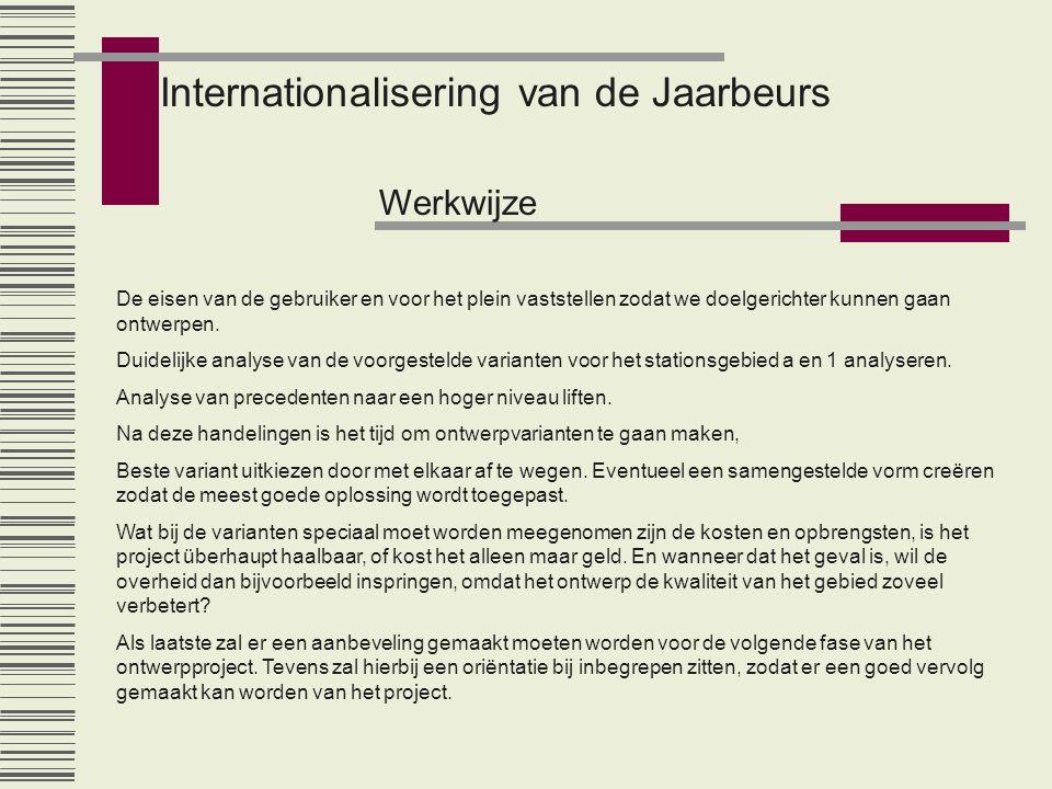 Internationalisering van de Jaarbeurs Werkwijze De eisen van de gebruiker en voor het plein vaststellen zodat we doelgerichter kunnen gaan ontwerpen.