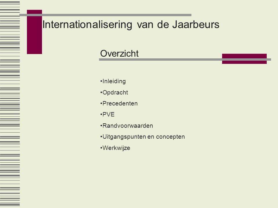 Internationalisering van de Jaarbeurs Overzicht •Inleiding •Opdracht •Precedenten •PVE •Randvoorwaarden •Uitgangspunten en concepten •Werkwijze