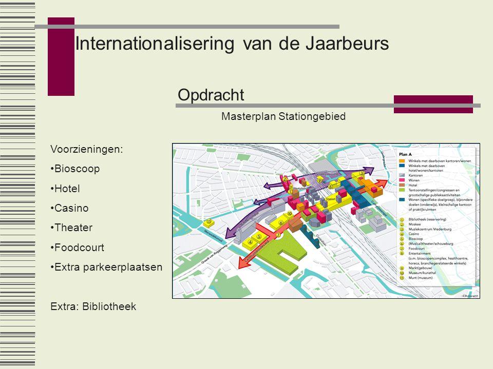 Internationalisering van de Jaarbeurs Opdracht Masterplan Stationgebied Voorzieningen: •Bioscoop •Hotel •Casino •Theater •Foodcourt •Extra parkeerplaa
