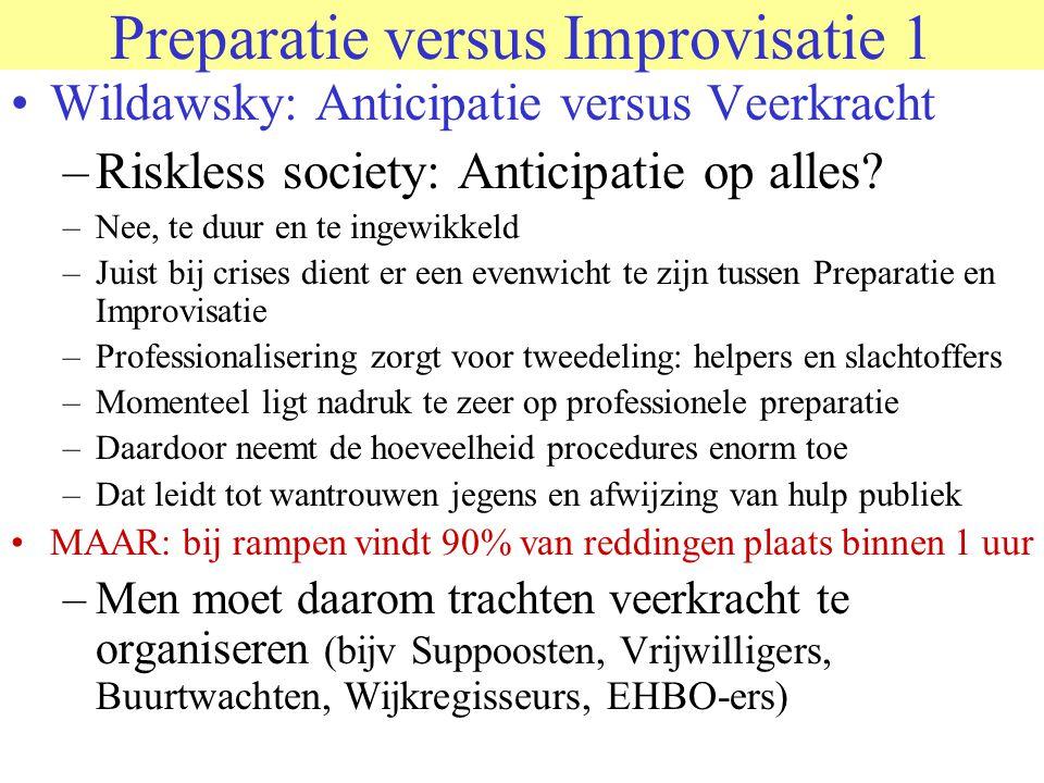Preparatie versus Improvisatie 1 •Wildawsky: Anticipatie versus Veerkracht –Riskless society: Anticipatie op alles? –Nee, te duur en te ingewikkeld –J