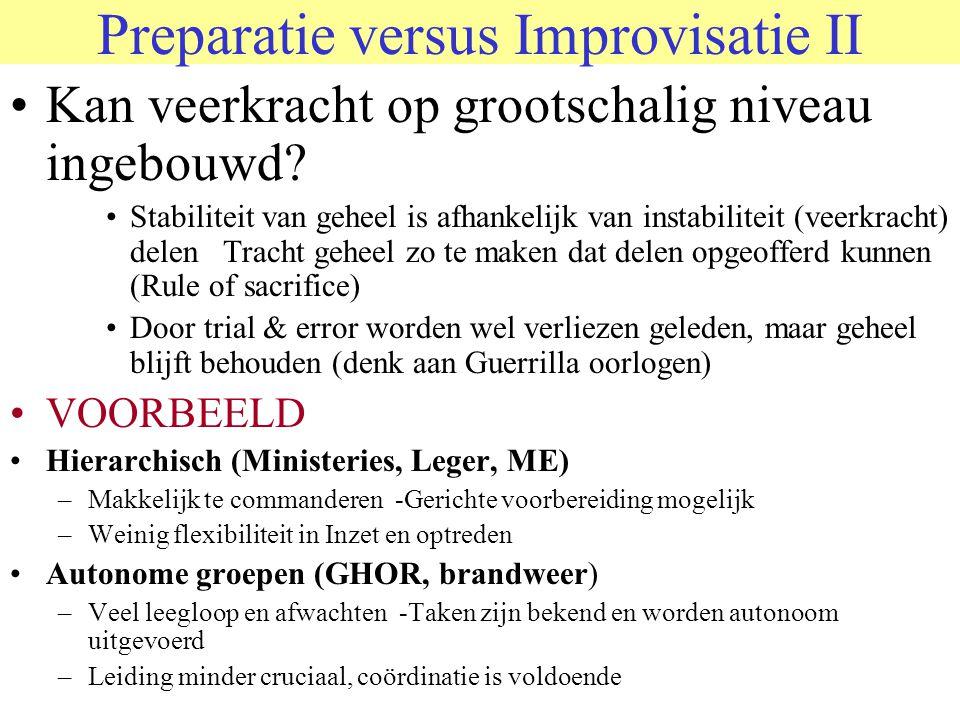 Preparatie versus Improvisatie II •Kan veerkracht op grootschalig niveau ingebouwd? •Stabiliteit van geheel is afhankelijk van instabiliteit (veerkrac