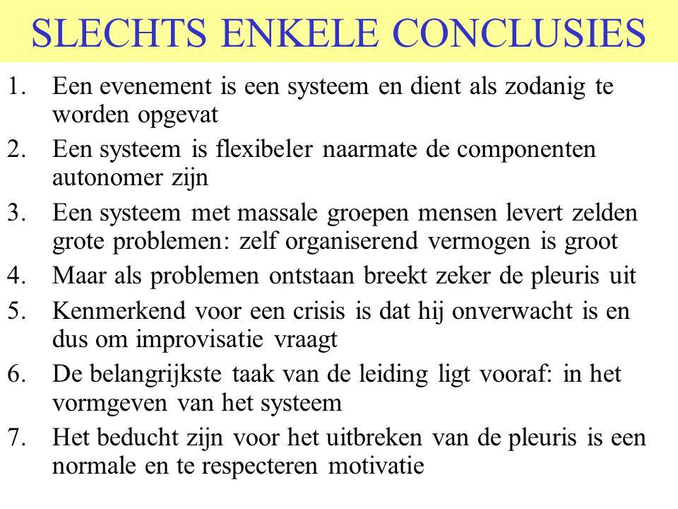SLECHTS ENKELE CONCLUSIES 1.Een evenement is een systeem en dient als zodanig te worden opgevat 2.Een systeem is flexibeler naarmate de componenten au