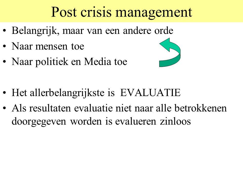 Post crisis management •Belangrijk, maar van een andere orde •Naar mensen toe •Naar politiek en Media toe •Het allerbelangrijkste is EVALUATIE •Als re
