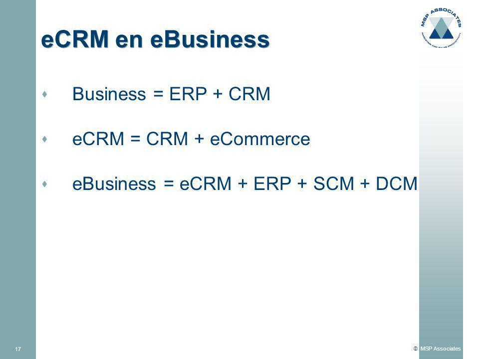 © MSP Associates 17 eCRM en eBusiness s Business = ERP + CRM s eCRM = CRM + eCommerce s eBusiness = eCRM + ERP + SCM + DCM