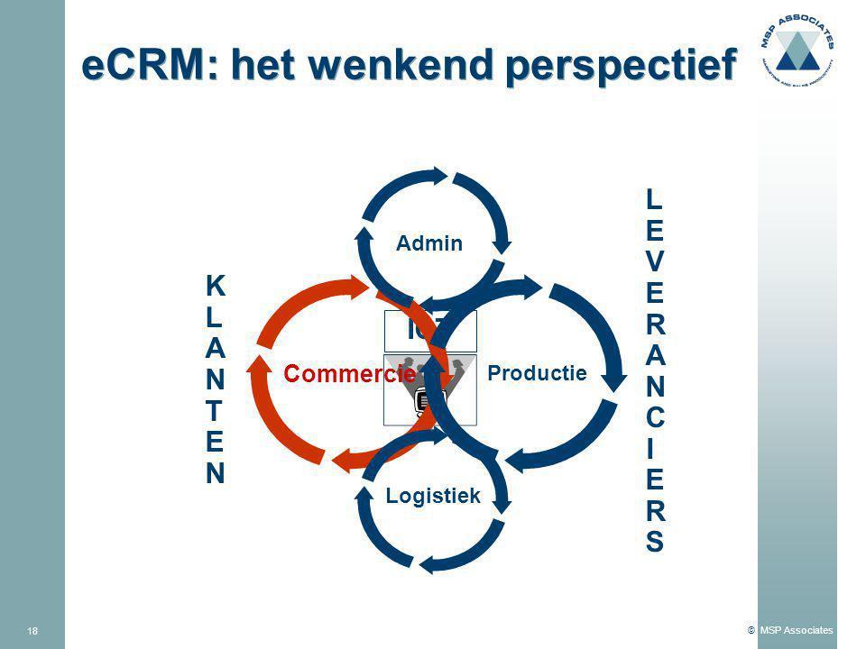 © MSP Associates 18 ICT eCRM: het wenkend perspectief LEVERANCIERSLEVERANCIERS Commercie Productie Admin Logistiek KLANTENKLANTEN