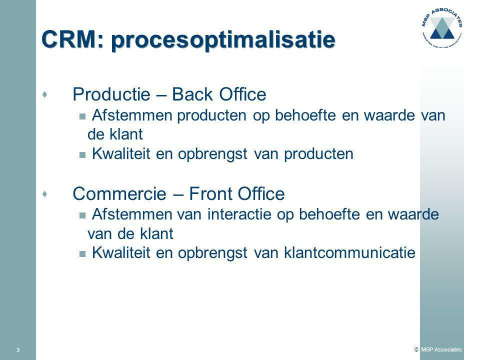 © MSP Associates 3 CRM: procesoptimalisatie s Productie – Back Office  Afstemmen producten op behoefte en waarde van de klant  Kwaliteit en opbrengst van producten s Commercie – Front Office  Afstemmen van interactie op behoefte en waarde van de klant  Kwaliteit en opbrengst van klantcommunicatie