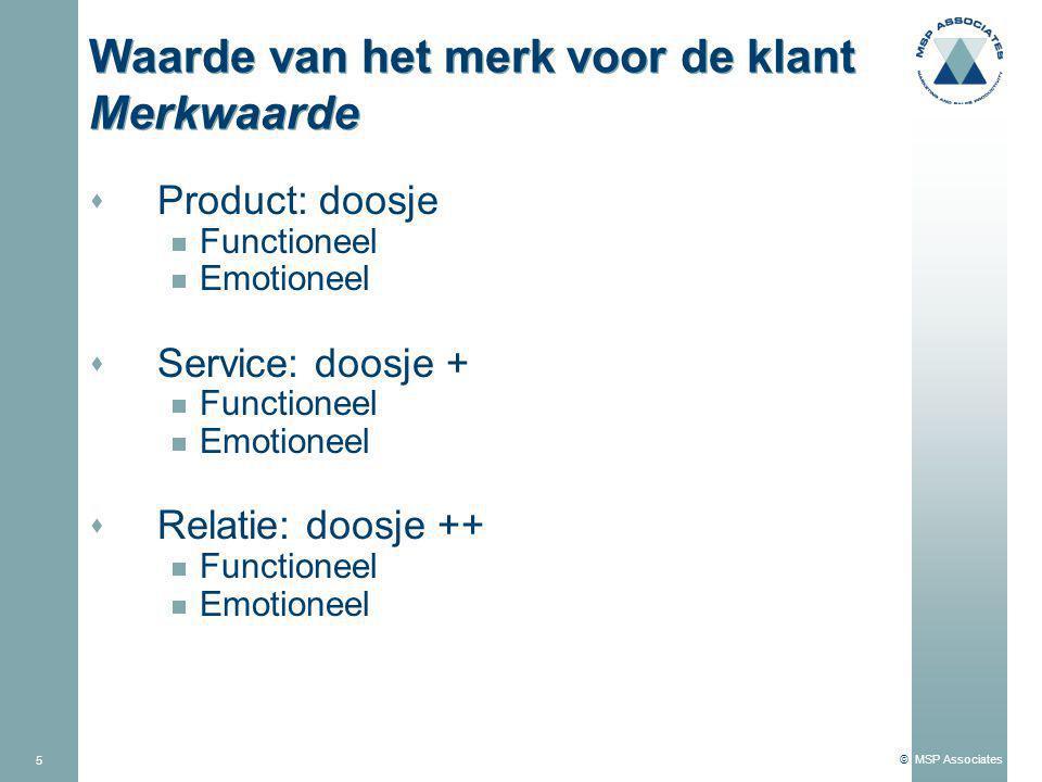 © MSP Associates 5 Waarde van het merk voor de klant Merkwaarde s Product: doosje  Functioneel  Emotioneel s Service: doosje +  Functioneel  Emotioneel s Relatie: doosje ++  Functioneel  Emotioneel