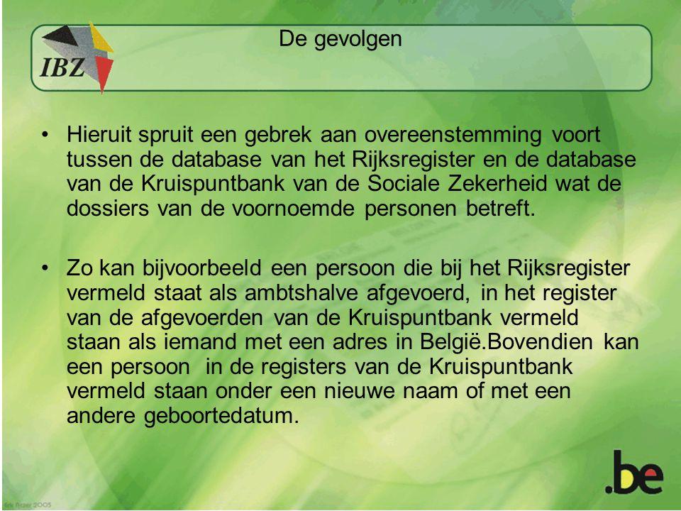 De gevolgen •Hieruit spruit een gebrek aan overeenstemming voort tussen de database van het Rijksregister en de database van de Kruispuntbank van de Sociale Zekerheid wat de dossiers van de voornoemde personen betreft.