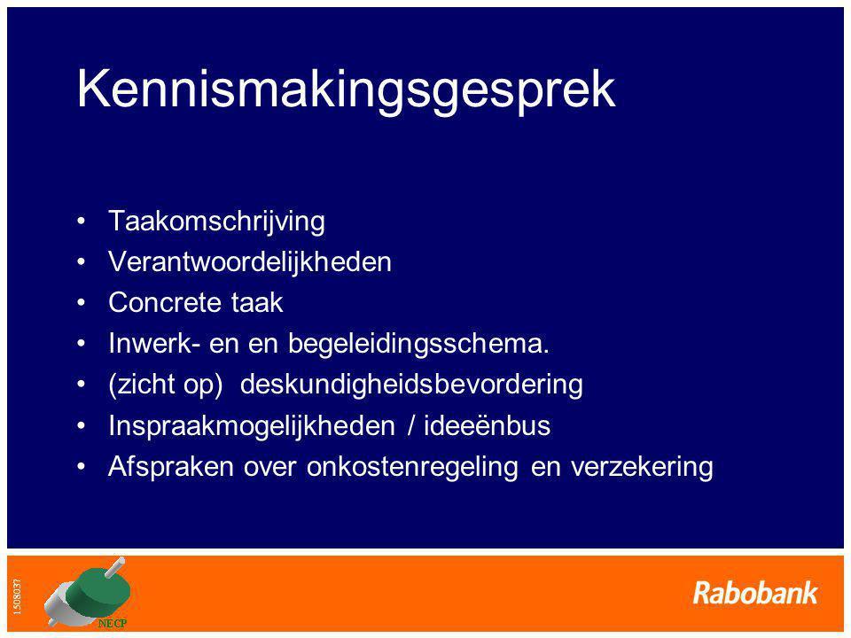 1508037 Kennismakingsgesprek •Taakomschrijving •Verantwoordelijkheden •Concrete taak •Inwerk- en en begeleidingsschema.