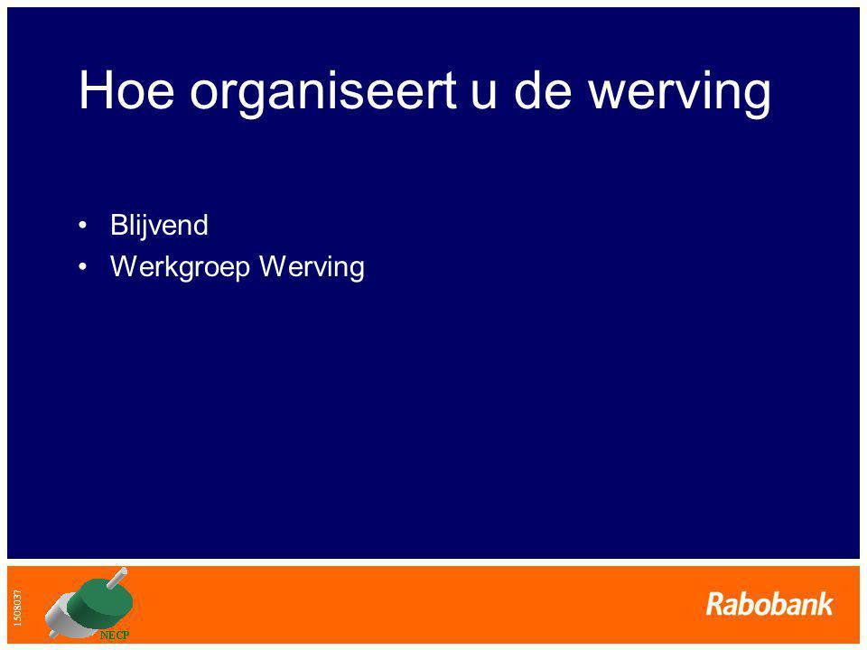 1508037 Hoe organiseert u de werving •Blijvend •Werkgroep Werving