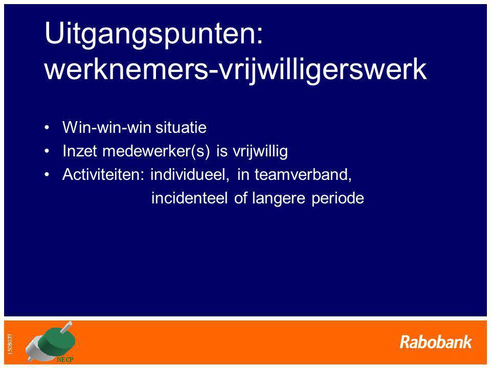 1508037 Uitgangspunten: werknemers-vrijwilligerswerk •Win-win-win situatie •Inzet medewerker(s) is vrijwillig •Activiteiten: individueel, in teamverband, incidenteel of langere periode