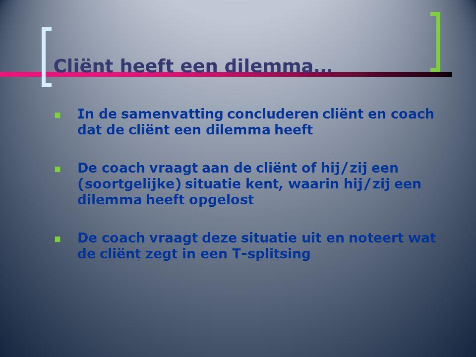 Cliënt heeft een dilemma…  In de samenvatting concluderen cliënt en coach dat de cliënt een dilemma heeft  De coach vraagt aan de cliënt of hij/zij