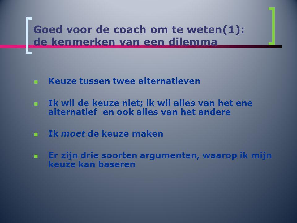 Goed voor de coach om te weten(1): de kenmerken van een dilemma  Keuze tussen twee alternatieven  Ik wil de keuze niet; ik wil alles van het ene alt