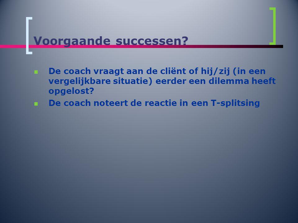 Voorgaande successen?  De coach vraagt aan de cliënt of hij/zij (in een vergelijkbare situatie) eerder een dilemma heeft opgelost?  De coach noteert