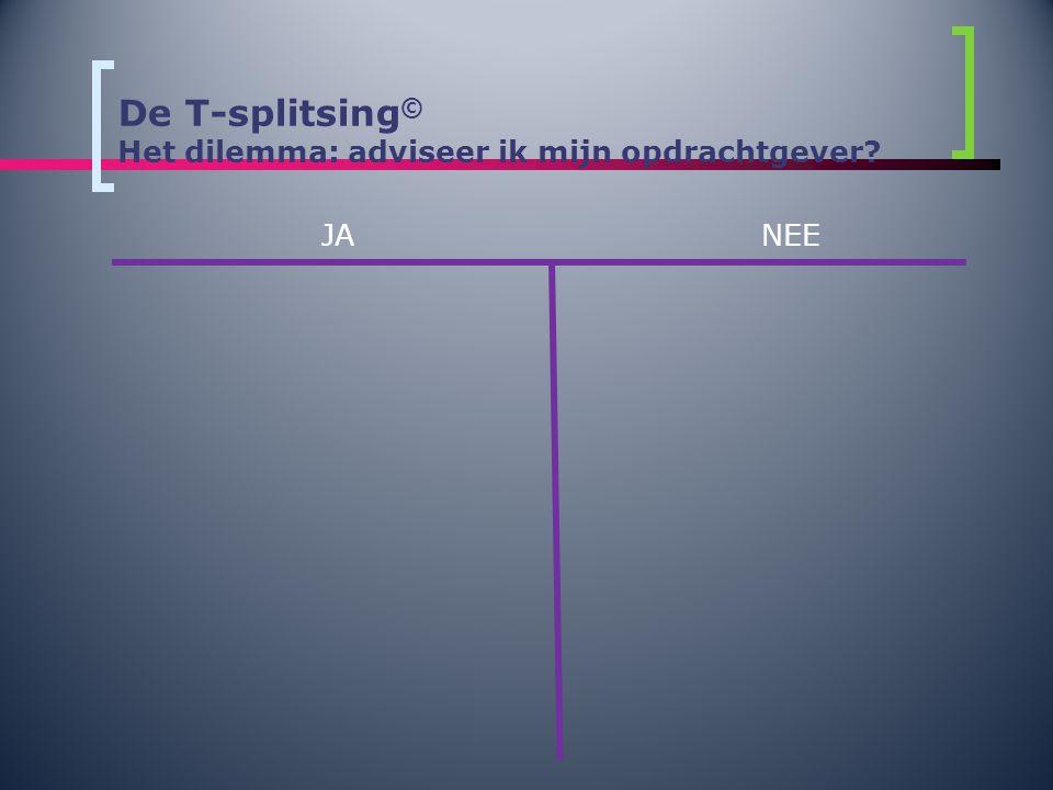 De T-splitsing © Het dilemma: adviseer ik mijn opdrachtgever? JANEE
