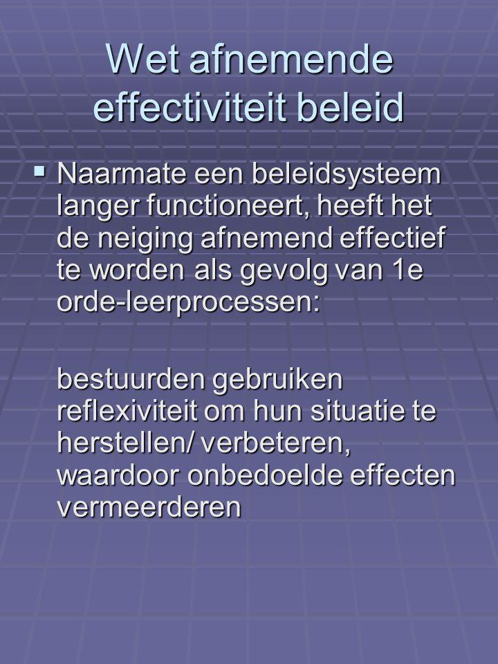 Wet afnemende effectiviteit beleid  Naarmate een beleidsysteem langer functioneert, heeft het de neiging afnemend effectief te worden als gevolg van