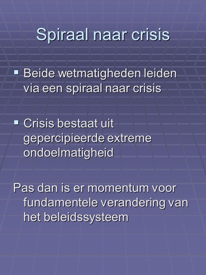 Spiraal naar crisis  Beide wetmatigheden leiden via een spiraal naar crisis  Crisis bestaat uit gepercipieerde extreme ondoelmatigheid Pas dan is er