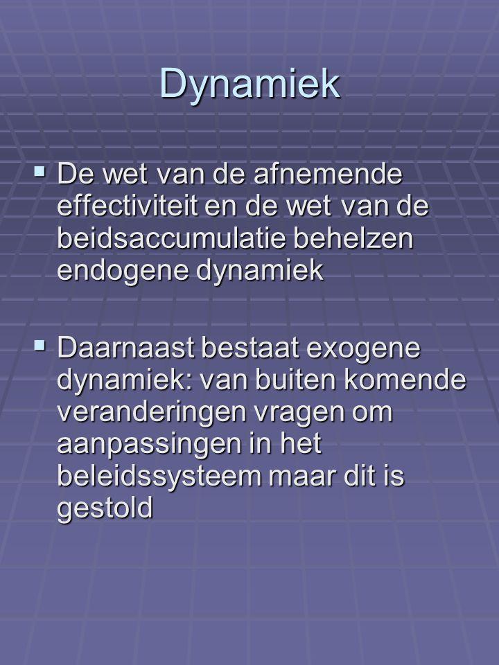 Dynamiek  De wet van de afnemende effectiviteit en de wet van de beidsaccumulatie behelzen endogene dynamiek  Daarnaast bestaat exogene dynamiek: va