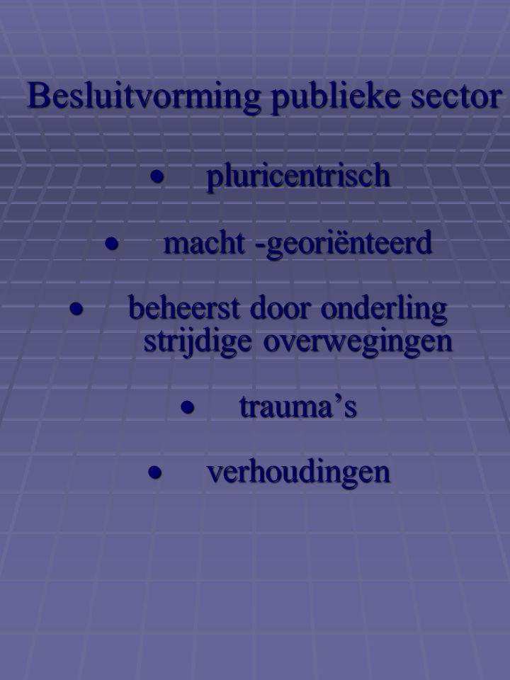 Besluitvorming publieke sector  pluricentrisch  macht -georiënteerd  beheerst door onderling strijdige overwegingen  trauma's  verhoudingen