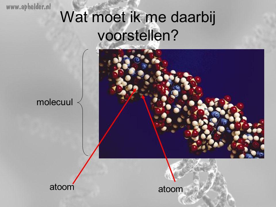 Wat moet ik me daarbij voorstellen? molecuul atoom