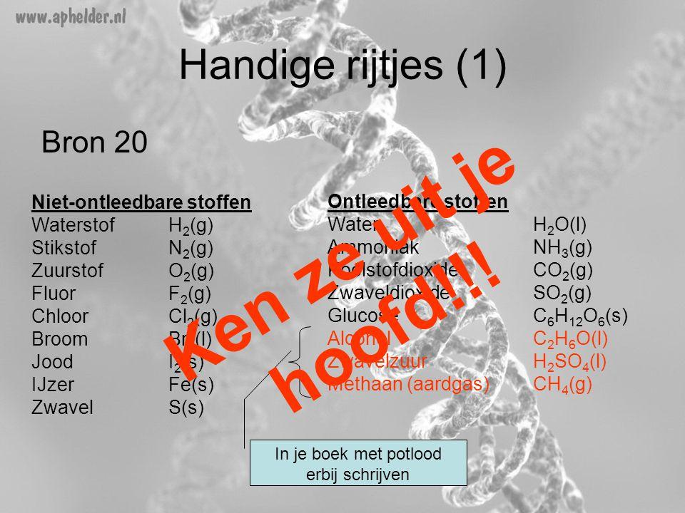 Handige rijtjes (1) Bron 20 Niet-ontleedbare stoffen Waterstof H 2 (g) StikstofN 2 (g) ZuurstofO 2 (g) FluorF 2 (g) ChloorCl 2 (g) BroomBr 2 (l) JoodI