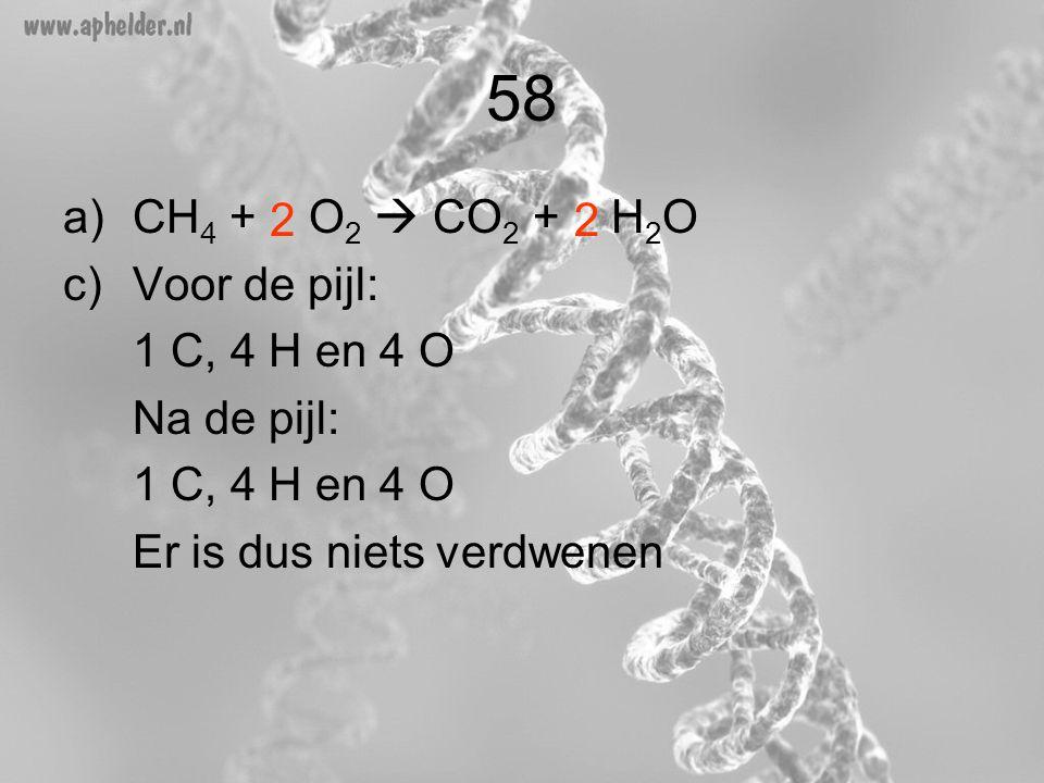 58 a)CH 4 + O 2  CO 2 + H 2 O c)Voor de pijl: 1 C, 4 H en 4 O Na de pijl: 1 C, 4 H en 4 O Er is dus niets verdwenen 22
