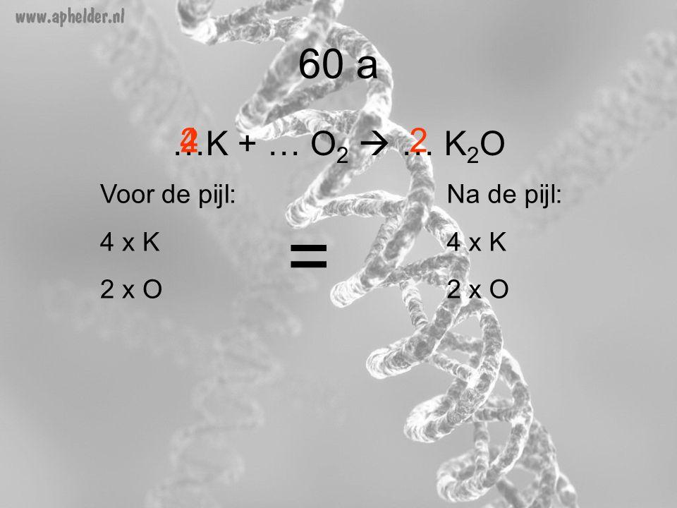 60 a …K + … O 2  … K 2 O 224 Voor de pijl: 4 x K 2 x O Na de pijl: 4 x K 2 x O =