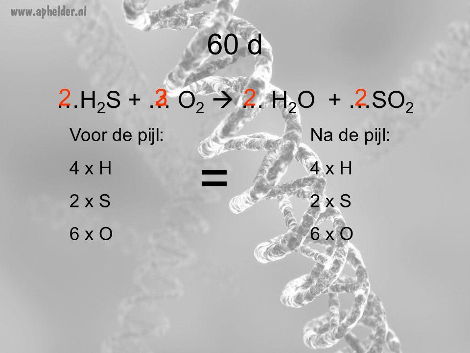 …H 2 S + … O 2  … H 2 O + …SO 2 3 60 d 22 Voor de pijl: 4 x H 2 x S 6 x O Na de pijl: 4 x H 2 x S 6 x O = 22