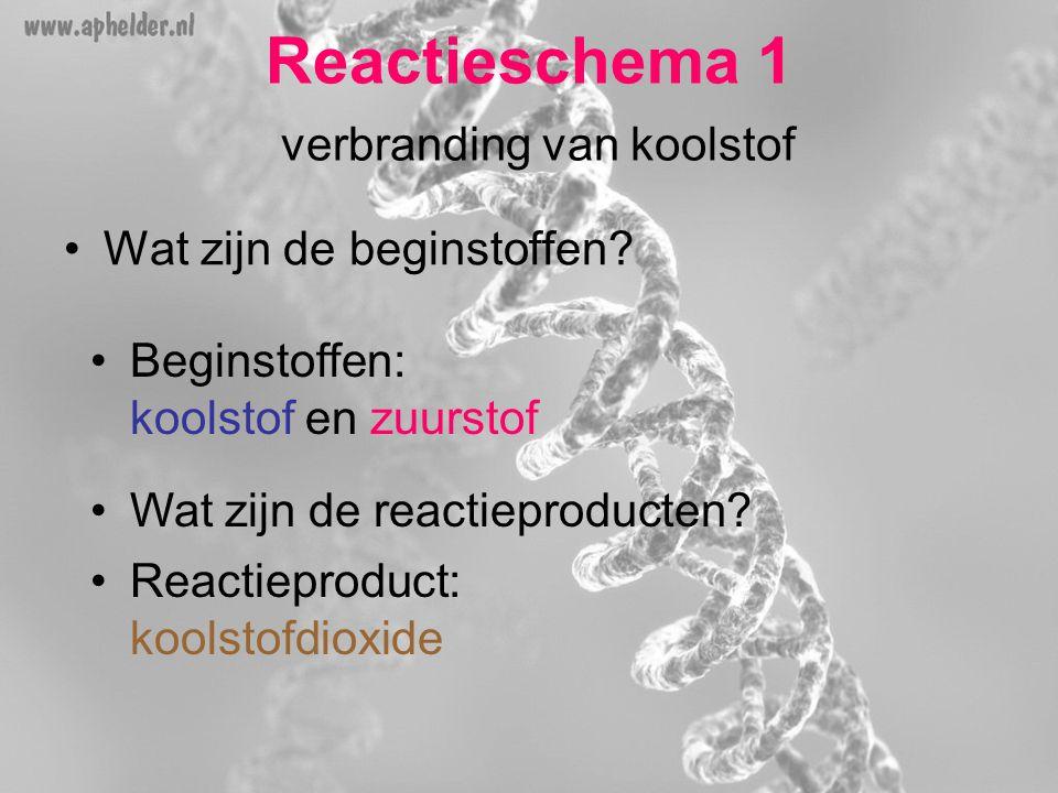 Reactieschema 1 verbranding van koolstof •Wat zijn de beginstoffen? •Beginstoffen: koolstof en zuurstof •Wat zijn de reactieproducten? •Reactieproduct