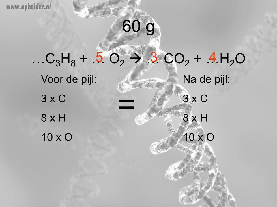 …C 3 H 8 + … O 2  … CO 2 + …H 2 O 60 g 45 Voor de pijl: 3 x C 8 x H 10 x O Na de pijl: 3 x C 8 x H 10 x O = 3