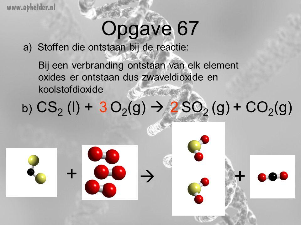 Opgave 67 b) CS 2 (l) + O 2 (g)  SO 2 (g) + CO 2 (g) +  + a) Stoffen die ontstaan bij de reactie: Bij een verbranding ontstaan van elk element oxide