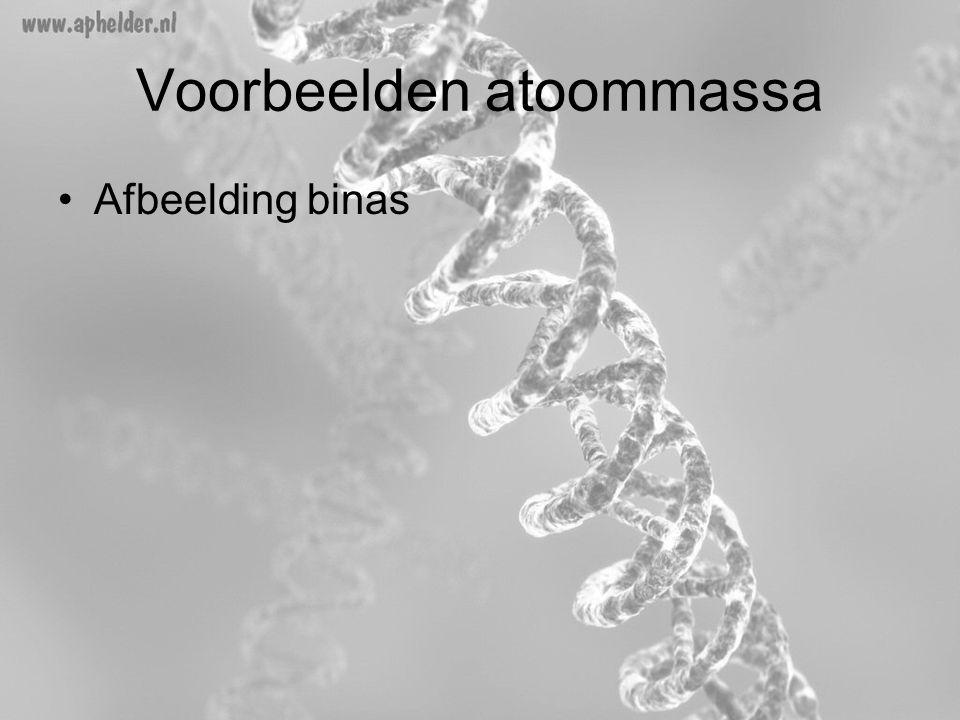 Voorbeelden atoommassa •Afbeelding binas