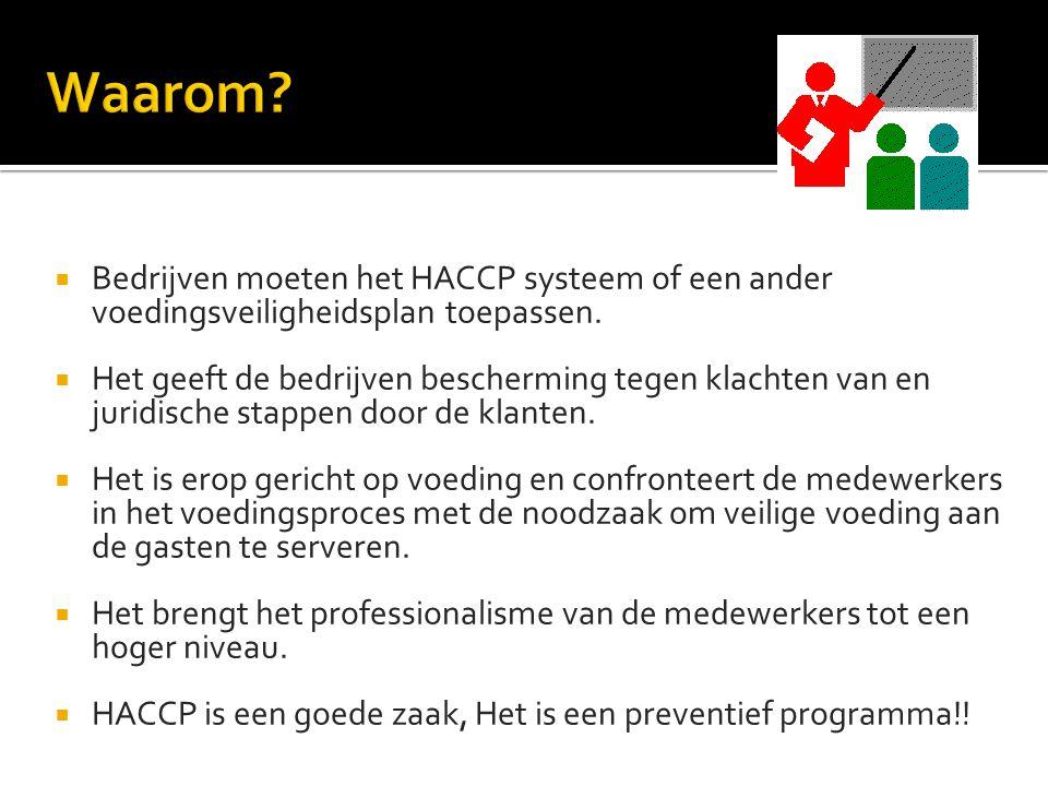  Bedrijven moeten het HACCP systeem of een ander voedingsveiligheidsplan toepassen.  Het geeft de bedrijven bescherming tegen klachten van en juridi