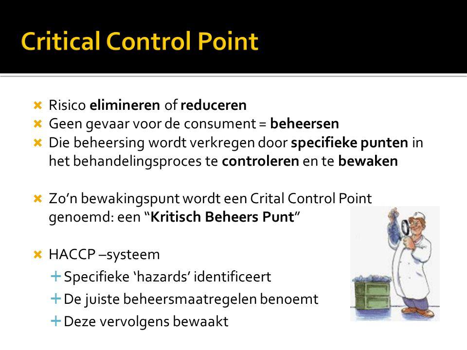  Risico elimineren of reduceren  Geen gevaar voor de consument = beheersen  Die beheersing wordt verkregen door specifieke punten in het behandelin