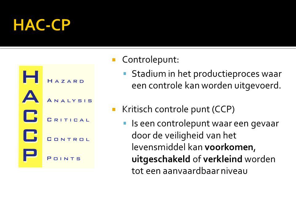  Controlepunt:  Stadium in het productieproces waar een controle kan worden uitgevoerd.  Kritisch controle punt (CCP)  Is een controlepunt waar ee