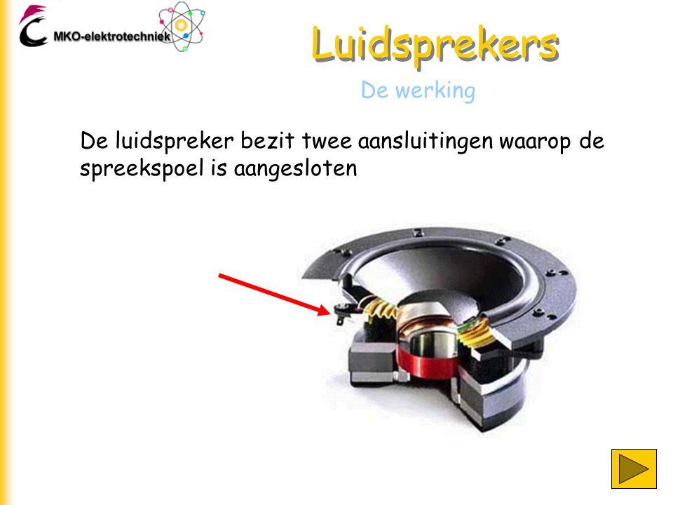 Luidsprekers De werking De luidspreker bezit twee aansluitingen waarop de spreekspoel is aangesloten