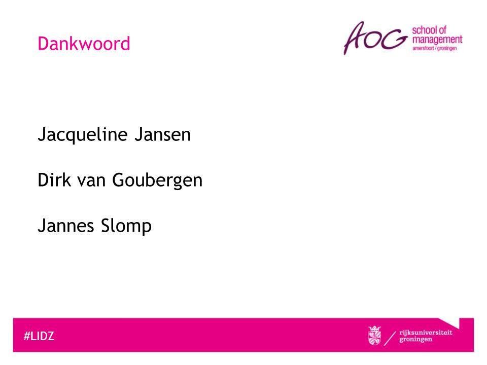 #LIDZ Dankwoord Jacqueline Jansen Dirk van Goubergen Jannes Slomp
