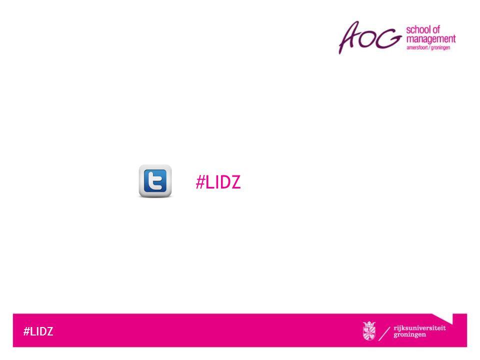 #LIDZ Toekomst van opleiding Lean in de Zorg Lean in de Zorg – 5 e editie Start: september 2014 Informatiebijeenkomst: juni 2014 Aansluitende opleidingen •Verandermanagement •Leiderschap in Management •Psychologie in Organisaties