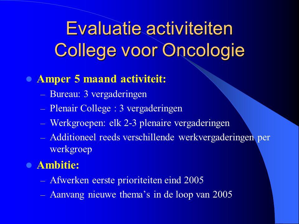 Evaluatie activiteiten College voor Oncologie  Amper 5 maand activiteit: – Bureau: 3 vergaderingen – Plenair College : 3 vergaderingen – Werkgroepen: